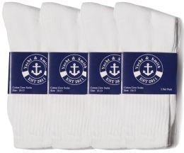 72 Units of Yacht & Smith Mens Cotton White Crew Socks, Sock Size 10-13 - Mens Crew Socks
