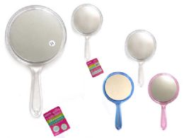 96 Units of 2-Sided Hand Mirror 3asst Clr - Cosmetics