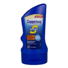 24 Units of Travel Size Coppertone Sport Sunscreen Lotion SPF 50 3 oz. - Skin Care