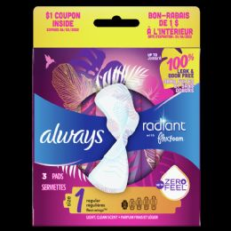 54 Units of Flow Pads Always Radiant Regular Pads Size 1 - Personal Care