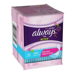 48 Units of Always Thin Active Scented Liners Travel Size Pack Of 20 - Personal Care