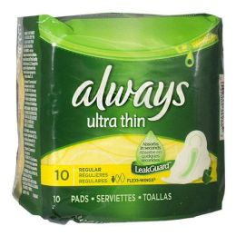 24 Units of Always Thin Maxi Pads Pack Of 10 - Personal Care