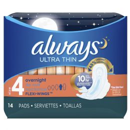 24 Units of Always Ultra Thin Overnight Pads with Flexi Wings Pack Of 14 - Personal Care