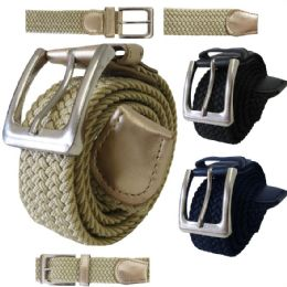 48 Units of ELASTIC STRETCH BELT ASSORTED COLORS - Mens Belts