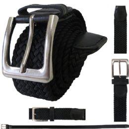 48 Units of ELASTIC STRETCH BELT BLACK - Mens Belts