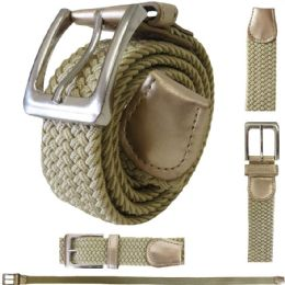 48 Units of ELASTIC STRETCH BELT BEIGE - Mens Belts