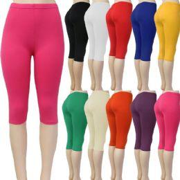48 Units of Women's Solid Color Capri Leggings in Assorted Colors - Womens Leggings