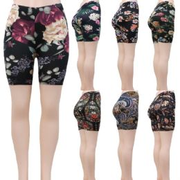 48 Units of Women's Assorted Print Bike Shorts in Butter Soft Material - Womens Leggings