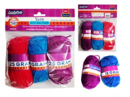 96 Units of 3 Pc Yarn In Assorted Colors - Rope and Twine
