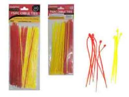 96 Units of 75pc Assorted Color Cable Ties - Cables and Wires