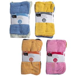 48 Units of Wash Cloths 12pk 11x11 Banded Random Assorted Colors - Towels