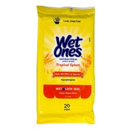 80 Units of Wet Ones Tropical Splash Antibacterial Wipes Pack Of 20 - Hand Sanitizer