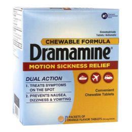 100 Units of Travel Size Dramamine Pack Of 2 - Pain and Allergy Relief