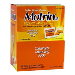 200 Units of Travel Size Motrin Ibuprofen Pack Of 2 - Pain and Allergy Relief