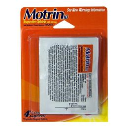 60 Units of Travel Size Motrin Ibuprofen Pack Of 4 - Pain and Allergy Relief