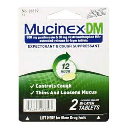 36 Units of Cough Suppressant Mucinex Dm Cough Suppressant Carded Pack Of 2 - Pain and Allergy Relief