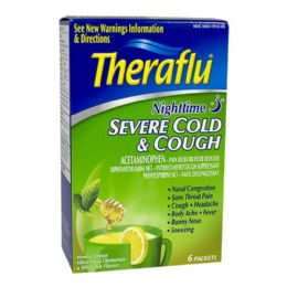 12 Units of Cold Cough Relief Theraflu Severe Cold Cough Nighttime Box Of 6 - Pain and Allergy Relief