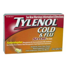 12 Units of Travel Size Tylenol Severe Cold Box Of 24 - Pain and Allergy Relief