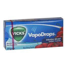 80 Units of Vicks Vapodrops - Vicks Vapodrops Cherry Box of 20 Drops - Pain and Allergy Relief