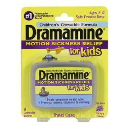 12 Units of Dramamine - Dramamine For Kids Chewable Tablets Card Of 8 - Pain and Allergy Relief