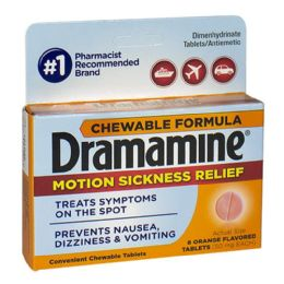 18 Units of Dramamine Motion Sickness Relief Chewables Travel Size 8 Count - Pain and Allergy Relief