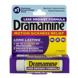 18 Units of Travel Size Dramamine Motion Sickness Relief Less Drowsy Tablets Vial Of 8 - Pain and Allergy Relief