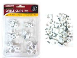 96 Units of 30pc Round Cable Clips White - Drills and Bits