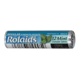 96 Units of Rolaids Regular Mint Chewable Antacid Roll of 12 - Pain and Allergy Relief