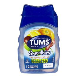 36 Units of Travel Size Tums EX Smoothies Assorted Fruit Bottle - Pain and Allergy Relief