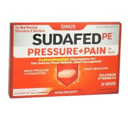 12 Units of Travel Size Sudafed PE Sinus Pressure Pain Box Of 24 - Pain and Allergy Relief