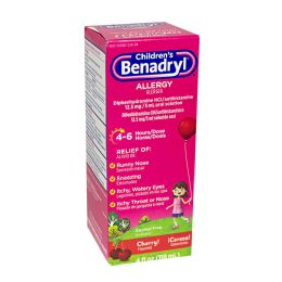 12 Units of Travel Size Benadryl Childrens 4 oz. - Pain and Allergy Relief