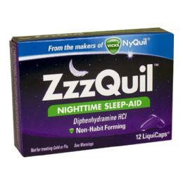 12 Units of Travel Size Sleep Aid - Zzzquil Nighttime Sleep Aid Box of12 - Pain and Allergy Relief