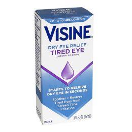 12 Units of Travel Size Tired Eye - Visine Tired Eye Lubricant Drops 0.5 Oz. - Eye Wear Gear