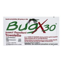 100 Units of Travel Size Insect Repellent - Bugx 30 Deet Insect Repellent Towelette - Skin Care