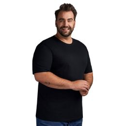 12 Units of Mens Plus Size Big And Tall Cotton Crew Neck Short Sleeve T-Shirts Solid Black Size 5XL - Mens T-Shirts