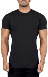 12 Units of SOCKS IN BULK Men's Cotton Crew Neck Short Sleeve T-Shirts Mix Colors Bulk Pack (12 Pack Black, 4X-Large) - Mens T-Shirts
