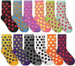12 Units of Women's Casual Crew Socks, Cotton Colorful Fun Patterns, Polka Dot Crew Socks Size 9-11 - Womens Crew Sock