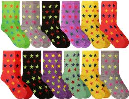 12 Units of Womens Casual Crew Socks, Cotton Colorful Fun Patterns, Women Patterned Dress Sock Stars Print Size 9-11 - Womens Crew Sock