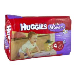 12 Units of Huggies Diapers - Huggies Little Movers 4 Pack 12 - Baby Beauty & Care Items