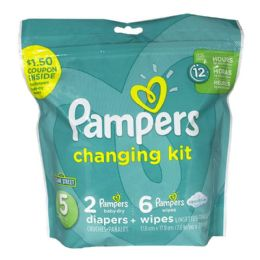 24 Units of Pampers Size 5 - Pampers 8 Piece Changing Kit Size 5 - Baby Beauty & Care Items