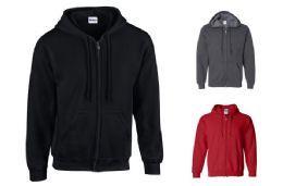 36 Units of Gildan Zipper Hoodie Sweatshirts - Mens Sweat Shirt