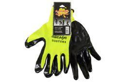 48 Units of HI-Vis Yellow Nitrile Work GloveS-Large - Working Gloves