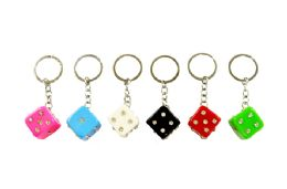 72 Units of Rhinestone Dice Keychain - Key Chains
