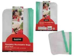 144 Units of 2pc Reusable Ziplock Bags - Bags Of All Types