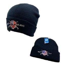 48 Units of Embroidered Knitted Cuff Hat [Mberty or Death]*TYPO* - Winter Hats