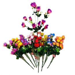 84 Units of 10 Head Roses with Tulle - Artificial Flowers