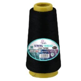 72 Units of 1500yds Sewing Thread Spool [Black] - Sewing Supplies