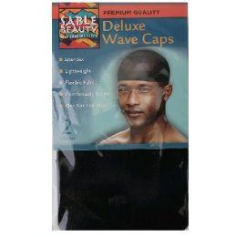 96 Units of 2 Pack Wave Cap Black - Head Wraps