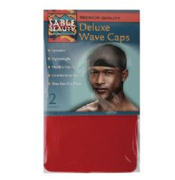 96 Units of 2 Pack Wave Cap Red - Head Wraps