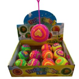 """72 Units of 3"""" Squeeze Yoyo Spike Ball with Lights [Heart] - Light Up Toys"""
